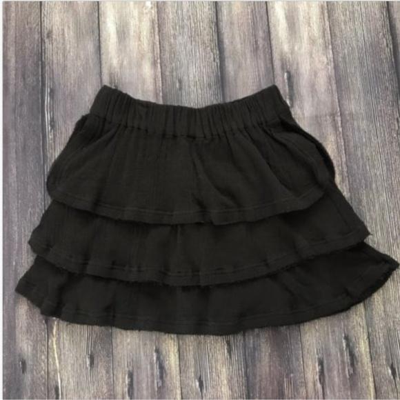 adf33db3e3cd7 IRO Skirts | Black Tiered Frayed Hem Zinnia Mini Skirt | Poshmark